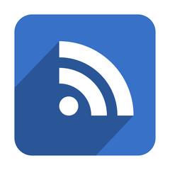 Icono cuadrado azul RSS con sombra