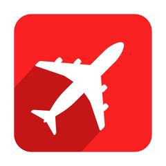 Icono cuadrado rojo avion con sombra