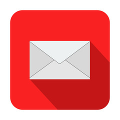 Icono cuadrado rojo sobre con sombra