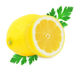 Juicy yellow lemon with parsley on a white background isolated