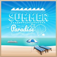 summer beach typography design background