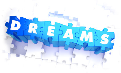 Dreams - White Word on Blue Puzzles.