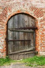 Ancient wooden barn door