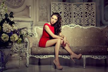 Slim trendy, luxurious, fashion woman in  lux vintage interior.