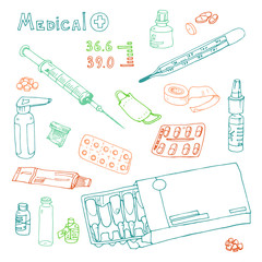 vector Illustration pills, drugs, syringe