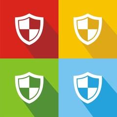 Iconos escudo colores sombra