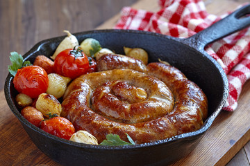 Roasted sausage with vegetables