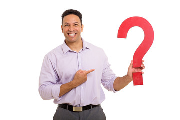 businessman pointing question mark