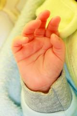 Closeup hand of little newborn baby girl