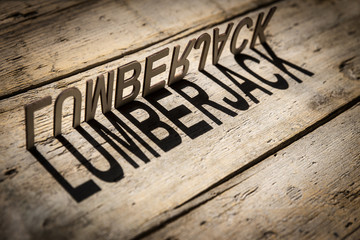 Wooden letters build the word lumberjack