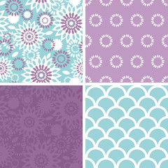 Vector purple and blue floral abstract set of four matching