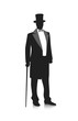 silhouette of a gentleman in a tuxedo - 80821574
