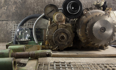 Mechanical machine parts.