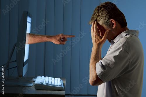 Leinwanddruck Bild Cyber internet computer bullying and social media stalking