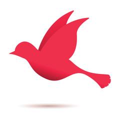 red bird in flight