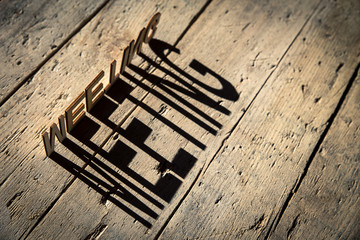 Wooden letters build the word meeting