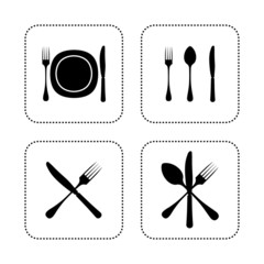 Dish, spoon fork and knife set