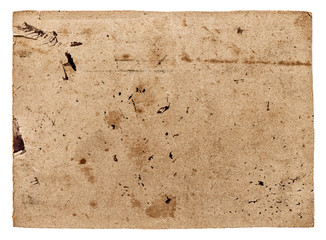 Used textured paper cardboard isolated on white. Scrapbook objec