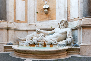 Fountain of River God Marforio, courtyard of Capitoline Museum