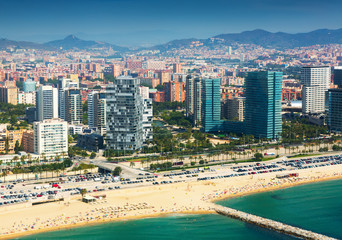 View of Barcelona from  the helicopter.  New houses at sea side