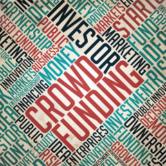 Crowd Funding Background - Retro Wordcloud.