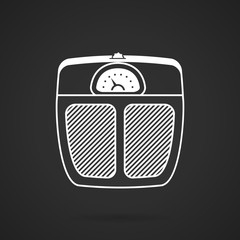 White line vector icon for floor scales