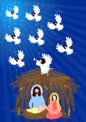 Nativity Scene-Joseph and Mary with baby jesus