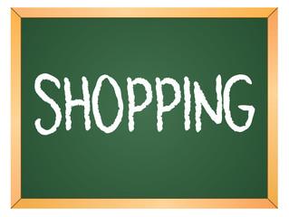 shopping word on chalkboard