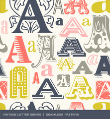 Seamless vintage pattern letter A in retro colors