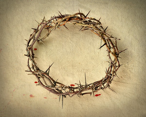 Crown of Thorns over Vintage Cloth