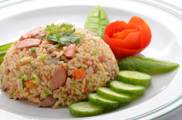 Rice with vegetables and sausages