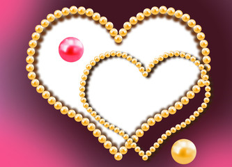 Two hearts from pearls