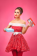Gift disappointement. Pin-Up Retro Style Woman.