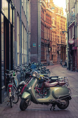Moped parked on a street in Amsterdam