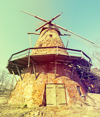 Old broken windmill in countryside of Latvia, Europe