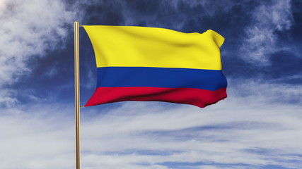 Colombia flag waving in the wind. Green screen, alpha matte