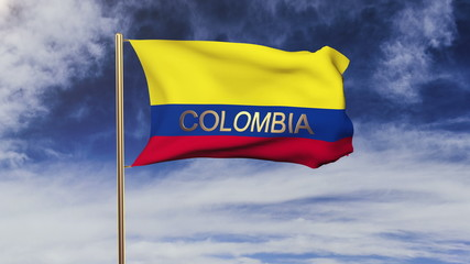 Colombia flag with title waving in the wind. Looping sun rises