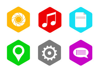 Hexagonal Flat Icon Set