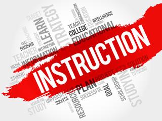 INSTRUCTION word cloud, education concept