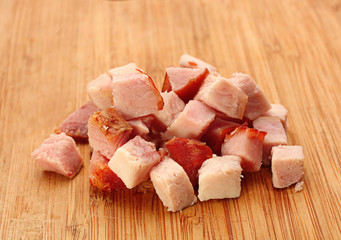 Pork meat smoked slice cube