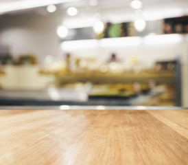 Table top with blurred kitchen background