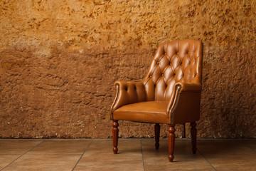 Brown armchair in modern loft