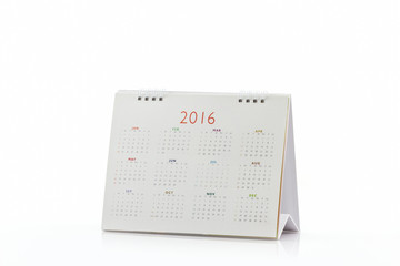 White paper desk spiral calendar 2016.