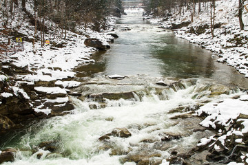 Prut river in Carpathians, Ukraine .