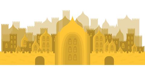 golden fabulous city. Buildings, towers, castles
