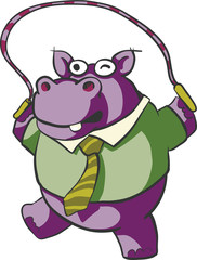 Hippo jumping rope