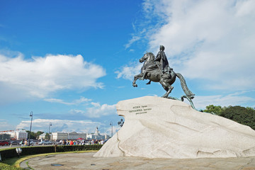 View of monument of Tsar Peter the First, St. Petersburg