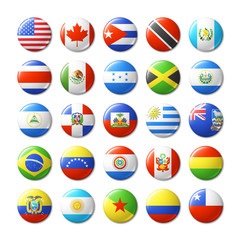 World flags round badges, magnets. North and South America.