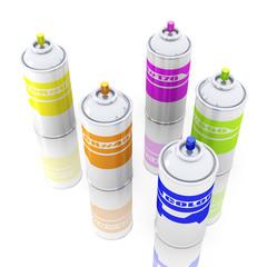 Color Aerosol Cans.