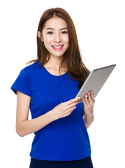 Asian woman student smile face and happy with holding a computer